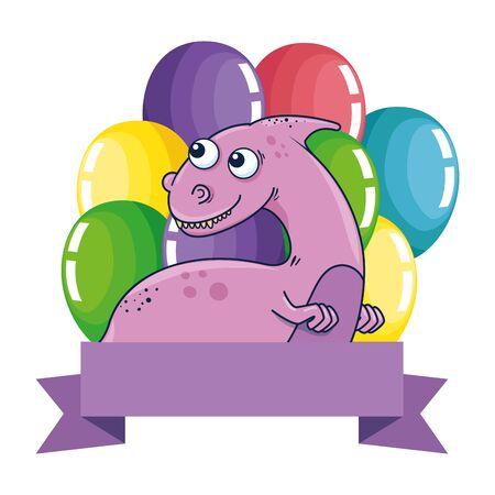 cute dinosaur with balloons helium frame vector illustration design