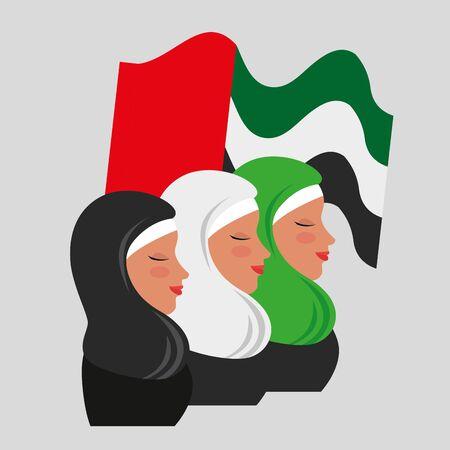happy women with ptriotic flg design to emirates womens day, vector illustration Illustration