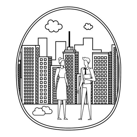 elegant young business couple on the city vector illustration design Foto de archivo - 129420027