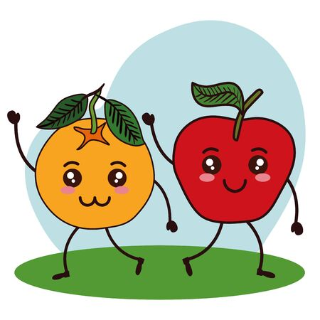 fresh orange and apple fruits   characters vector illustration design