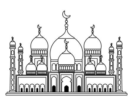 Taj Mahal Moschee Gebäude Symbol Vektor Illustration Design Vektorgrafik