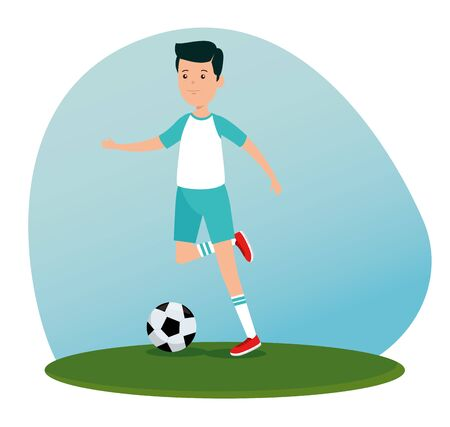 boy practice soccer exercise activity to summer sport vector illustration