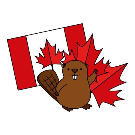 beaver with canadian flag and maple leaf icon vector illustration design 일러스트