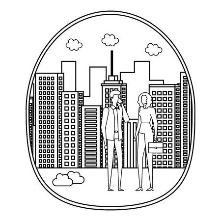 business couple using smartphone on the city vector illustration design Foto de archivo - 129420465