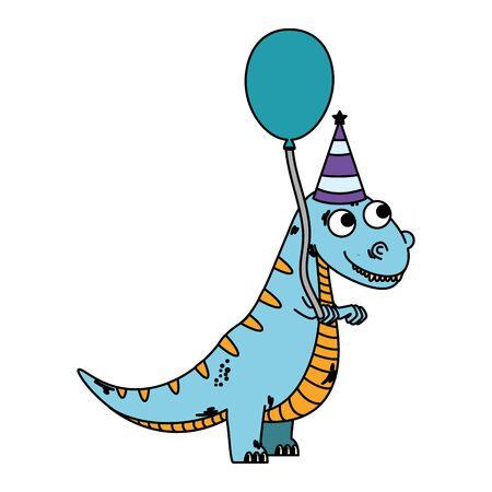 cute tyrannosaurus rex with balloon helium vector illustration design Illusztráció