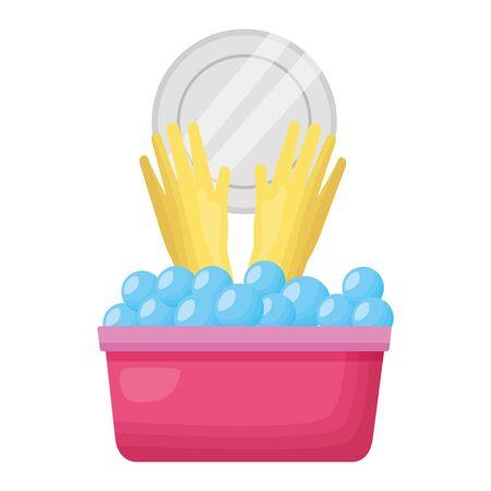 bucket gloves dish spring cleaning tools vector illustration Illustration