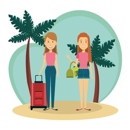 young girls friends on the beach vector illustration design Ilustrace