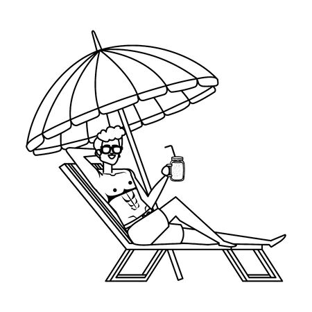 young man in beach chair with umbrella drinking juice vector illustration design Ilustração
