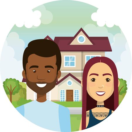 interracial lovers couple outdoor the house characters vector illustration design