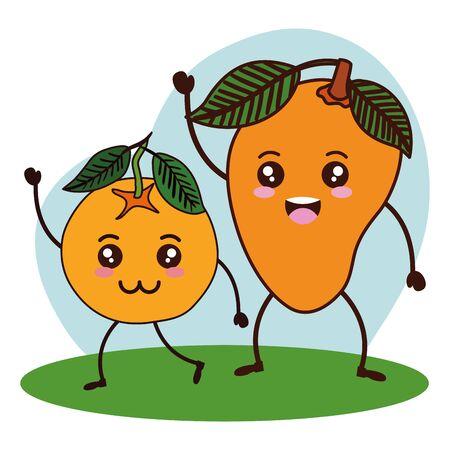 fresh mango and orange fruits   characters vector illustration design