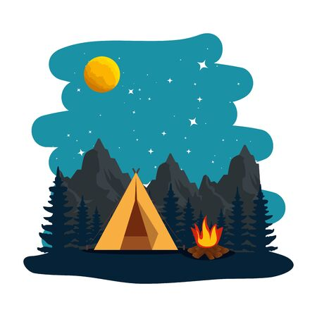 camping zone with tent and campfire at night scene vector illustration