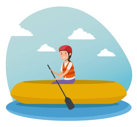 girl training canoeing fitness activity to summer sport vector illustration