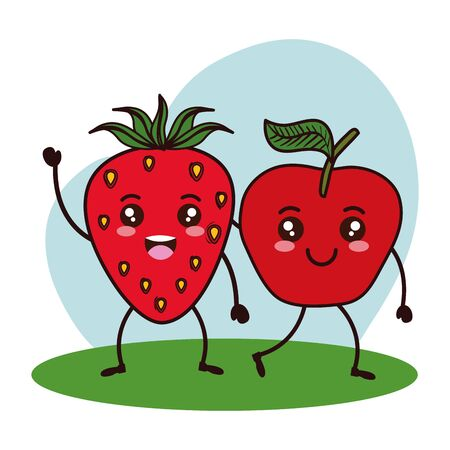 fresh strawberry and apple fruits kawaii characters vector illustration design Illustration