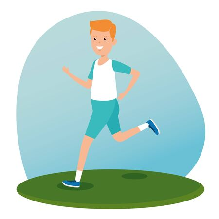 boy practice athletics lifestyle activity to summer sport vector illustration 向量圖像