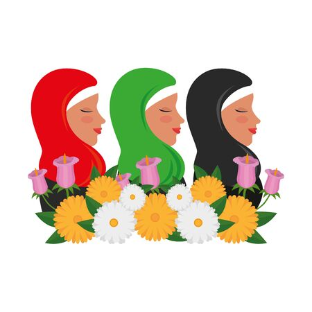 islamic women group with traditional burka and floral decoration vector illustration design Banque d'images - 129316523