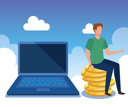 businessman with laptop technology and coins money with clouds, vector illustration