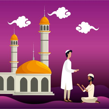 islamic men with traditional clothes in the mosque vector illustration design Banque d'images - 129316528