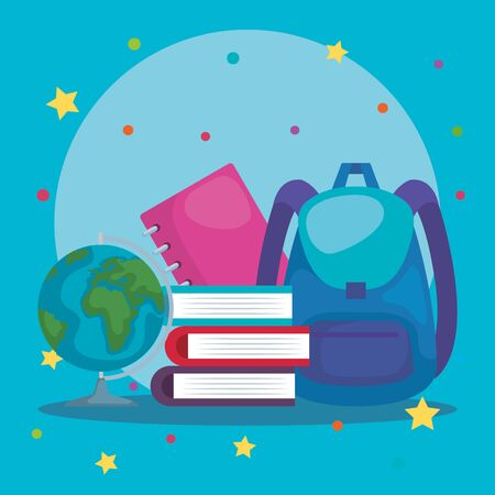 backpack with books and global map with notebook over blue background vector illustration Çizim