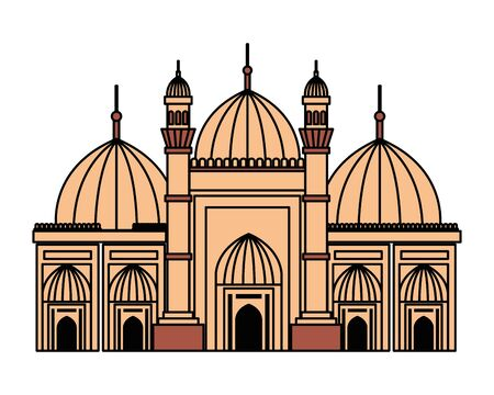 badshahi mosque building palace icon vector illustration design