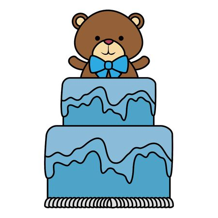 cutte little bear teddy with bowtie in cake vector illustration design 写真素材 - 129421276