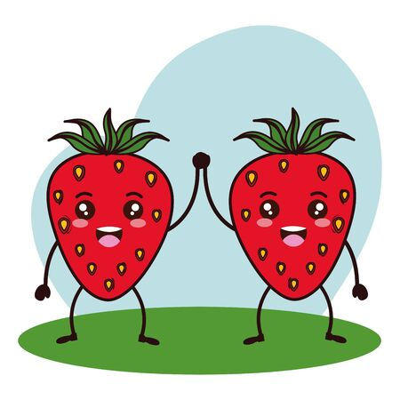 fresh strawberries couple fruits   characters vector illustration design