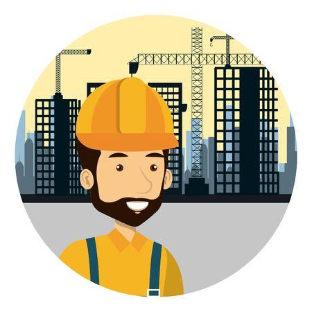 builder constructor on workside character vector illustration design