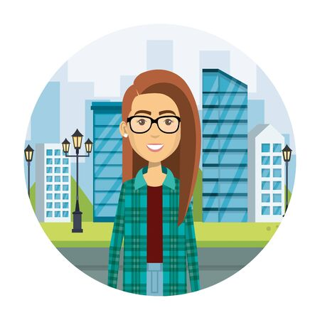 young woman in the street urban style vector illustration design