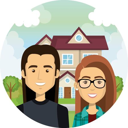 young lovers couple outdoor the house characters vector illustration design