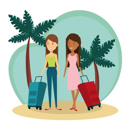 young interracial girls friends on the beach vector illustration design