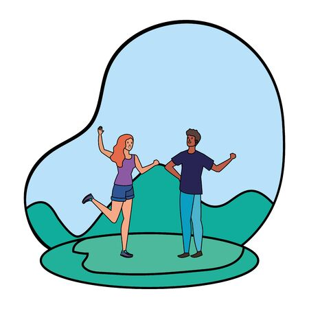 young lovers couple in the landscape vector illustration design Foto de archivo - 129422223