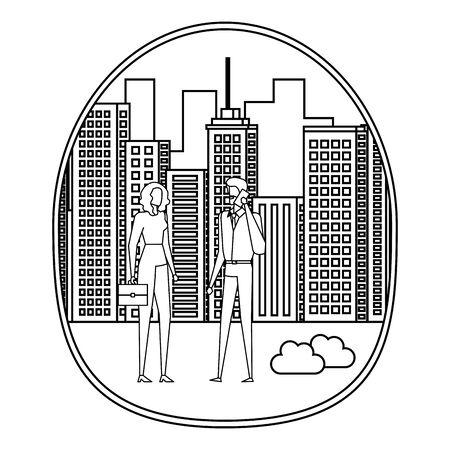 business couple using smartphone on the city vector illustration design Foto de archivo - 129422692