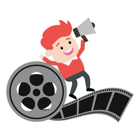 director with speaker and reel filmstrip production vector illustration  イラスト・ベクター素材