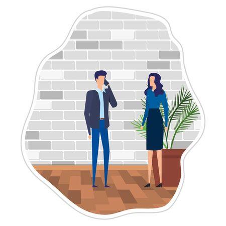 business couple using smartphone in the office vector illustration design Foto de archivo - 129422698