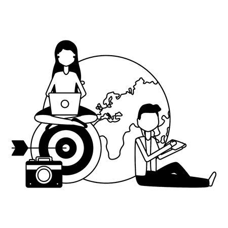 people world target camera laptop mobile social media Foto de archivo - 129336265