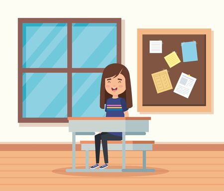 girl child in the classroom with note board and desk to school education vector illustration Illustration