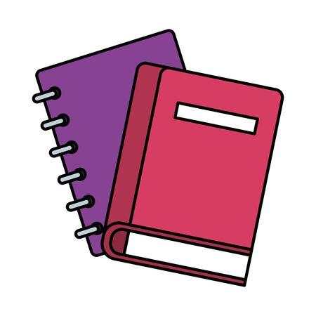 notebook and book school supply vector illustration design