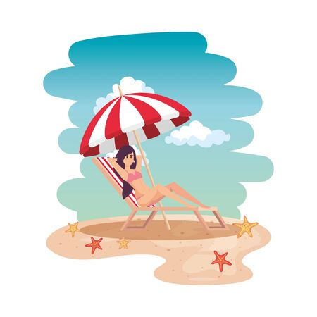 beautiful girl relaxing in beach chair on the beach vector illustration design