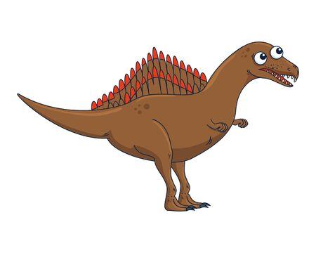 cute spinosaurus comic character icon vector illustration design  イラスト・ベクター素材