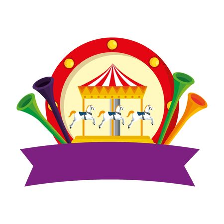 carnival carousel horses with trumpets vector illustration design