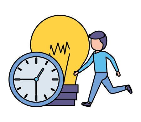 businessman clock time bulb idea vector illustration vector illustration