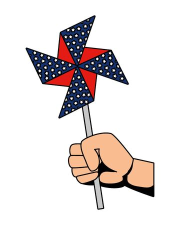 hand with wind spin toy usa flag vector illustration design