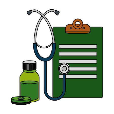 checklist and stethoscope with cannabis products vector illustration design