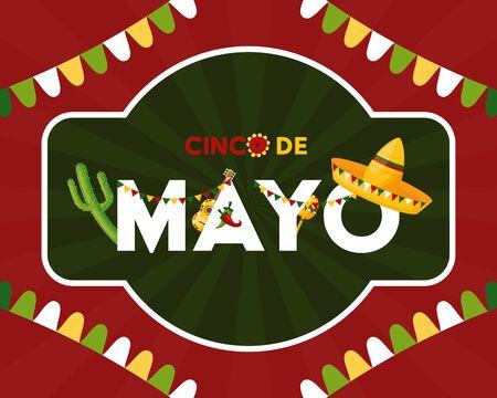 label garland mexico cinco de mayo vector illustration Çizim