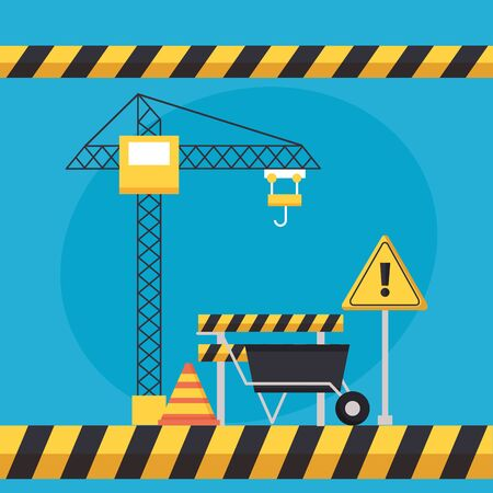 wheelbarrow barricade crane construction equipment vector illustration Standard-Bild - 129423542