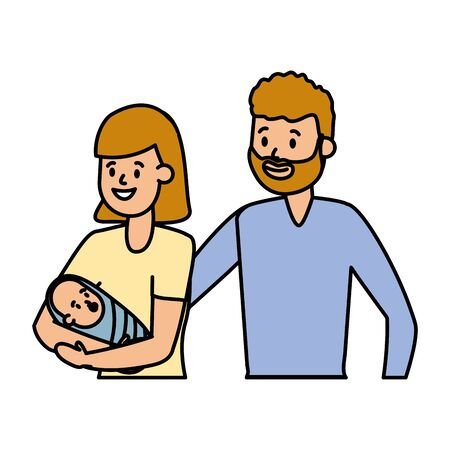 mom dad and baby vector illustration design