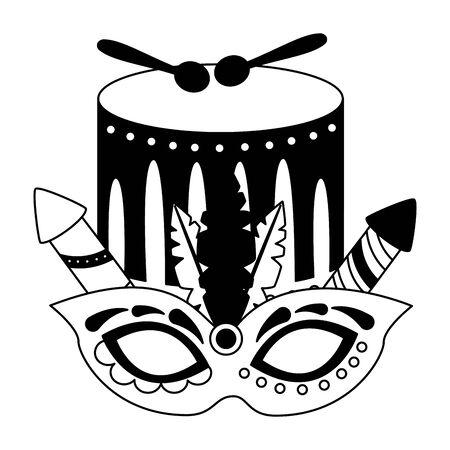 drum mask feather fireworks carnival vector illustration design