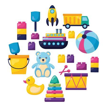 kids toys bear boat ball drum blocks shovel truck rocket duck vector illustration Stock Vector - 129428574