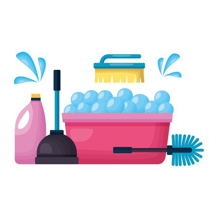washing bucket plunger brush detergent spring cleaning tools vector illustration Illustration