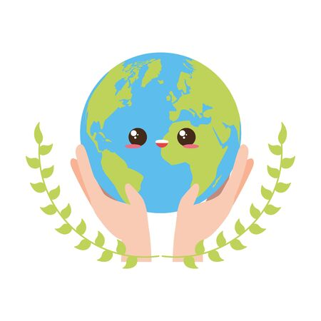 planet in hands earth day card vector illustration