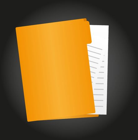 folder cartoon with paper isolated over black background. vector Imagens - 129429556